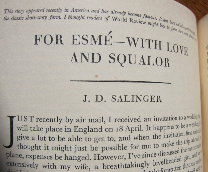 """essay on for esme with love and squalor Analysis """"for esme—with love and squalor"""" (1950) j d salinger (1919-2010) """"this time the narrator is a mature american soldier, who meets an adolescent english esme during world war ii the clear-eyed british girl, whose father has been killed in the war, asks the american if he."""